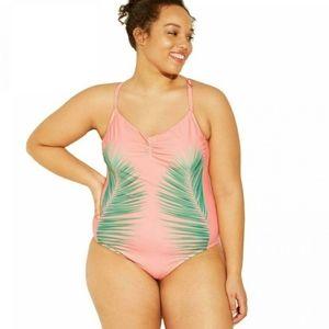 Xhilaration Scoop Back Pink Palm Swimsuit